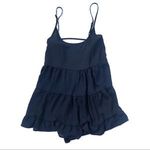 John Galt Navy Jada Layered Slip Dress